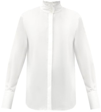 Frame Ruffled High-neck Cotton-poplin Shirt - White