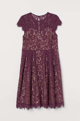H&M H&M+ Calf-length Lace Dress - Red