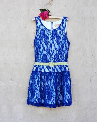 Joyfolie Girls' Ida Blue Lace Dress