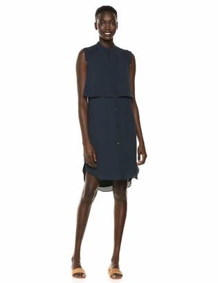 Halston Women's Sleeveless Shirtdress w/Pleating Detail