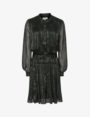 Reiss Gillian snakeskin-embossed woven midi dress