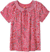 Joe Fresh Women's Print Smock Neck Top, Red (Size M)
