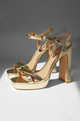 Topshop Womens Sienna Gold Platform Heels - Gold