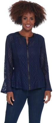 Belle By Kim Gravel Geometric Stretch Lace Zip Jacket
