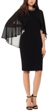 Xscape Evenings Chiffon-Cape Embellished-Neck Dress