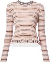 Derek Lam 10 Crosby striped rib knit sweater - women - Cotton - XS