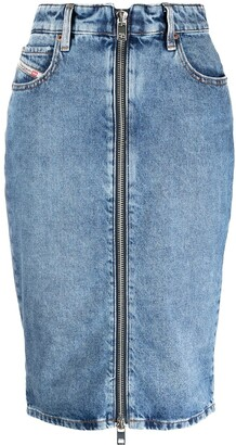 Diesel Zipped Denim Pencil Skirt