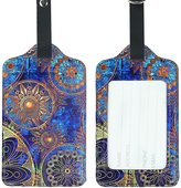 Lizimandu PU Leather Suitcase Labels Bag Travel Accessories - Set of 2(Blue Flower)