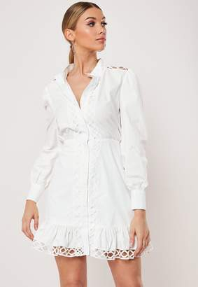 Missguided White Poplin Lattice Detail Shirt Dress