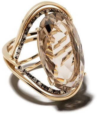 Brumani 18kt Yellow Gold, Diamond And Smoked Quartz Ring