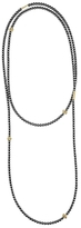 Lagos 18K Gold and Hematite Single Strand Caviar Icon Station Necklace, 34