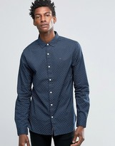 Hilfiger Denim Shirt With Print In Slim Fit Navy