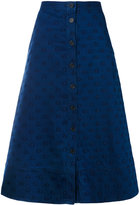 Chinti and Parker star embroidered denim skirt