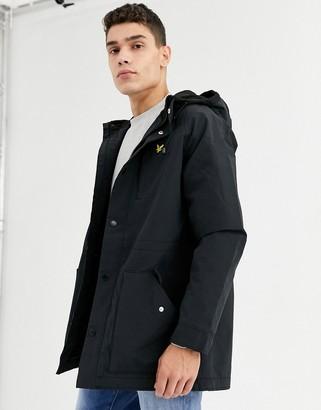 Lyle & Scott microfleece lined parka coat-Black
