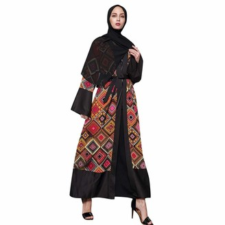 iHAZA Arab Clothes Robe Women Ethnic Robes Abaya Islamic Muslim Middle East Maxi Open Cardigan Kaftan Black