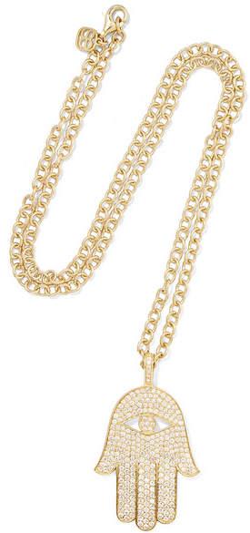 Sydney Evan Extra Large Hamsa 14-karat Gold Diamond Necklace