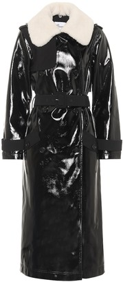 Self-Portrait Faux patent leather trench coat