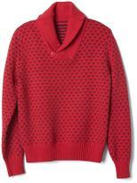 Birdseye print shawl sweater