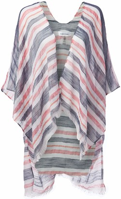 Calvin Klein Women's Nautical 100% Polyester Stripe Cover Up
