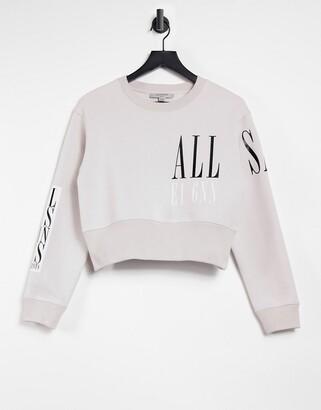 AllSaints Separo Eva cropped logo sweatshirt in off white