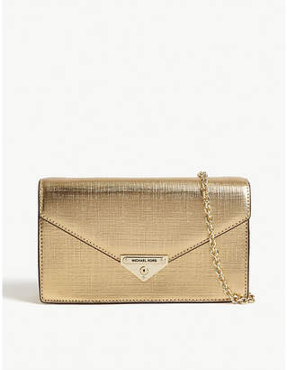 MICHAEL Michael Kors Grace metallic leather clutch