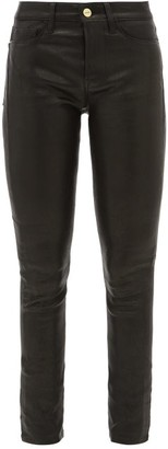 Frame Le High Leather Skinny Jeans - Womens - Black