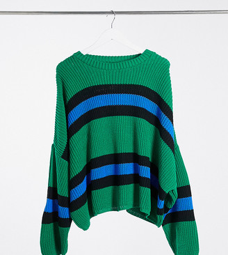 ASOS DESIGN Curve crew neck jumper with stripes in green