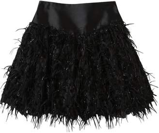 Mimisol Faux Feather Embellish Satin Mini Skirt