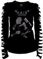 Active USA Active Bling Bling Hair Stylist Rhinestones T-shirt Ripped Slit Cut Out Salon Stylist Shirt