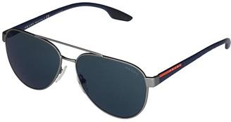 Prada Linea Rossa 0PS 54TS (Gunmetal Rubber/Dark Grey) Fashion Sunglasses