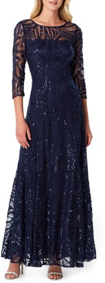 Tahari Sequin Embroidered A-Line Gown