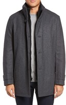 Andrew Marc Men's Big & Tall Stafford Pressed Wool Blend Car Coat With Inset Bib