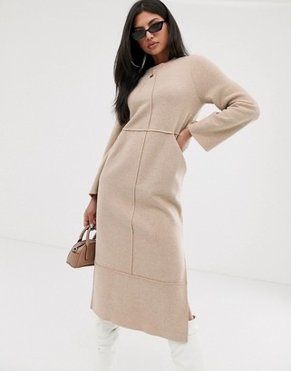 Asos Design DESIGN super soft exposed seam patch pocket midi dress in camel-Beige