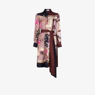 Salvatore Ferragamo Belted Baroque-Print Shirt Dress