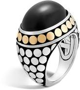 John Hardy 18K Yellow Gold and Sterling Silver Dot Dome Ring with Black Onyx