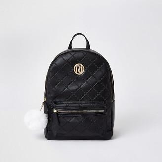 River Island Girls black quilt embossed backpack