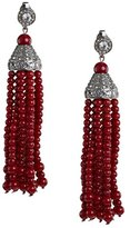 Kenneth Jay Lane Women's Silver Plated 12 Red Coral Rows Tassel Crystals Clip Earrings