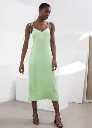 And other stories Shoulder Tie Midi Slip Dress