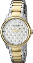 Stuhrling Original Women's 567.02 Vogue Culcita Swiss Quartz Crystal Accented Two Tone Stainless Steel Link Bracelet Watch