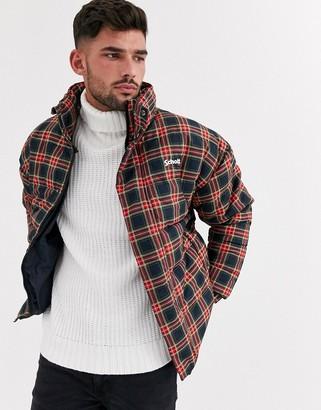 Schott Nebraska check print puffer jacket slim fit with concealed hood in navy/red