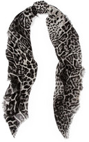Saint Laurent Leopard-print Cashmere And Silk-blend Scarf - Gray