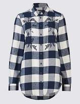 M&S Collection Pure Cotton Check Embroidered Shirt
