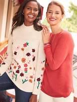 Talbots Flower-Embroidered Mockneck Sweater