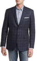 Brioni Heathered Windowpane Check Two-Button Sport Coat, Navy