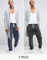 Asos Loungewear Slim Jogger With Narrow Waistband & Cuffs 2 Pack