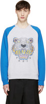 Kenzo Grey and Blue Raglan Tiger Pullover
