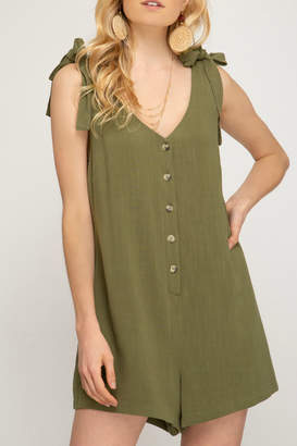 She + Sky Button down romper with shoulder tie