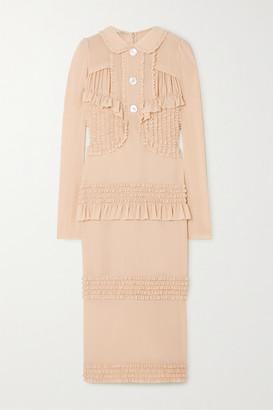 Miu Miu Ruffled Stretch-silk Crepe De Chine Midi Dress - Beige