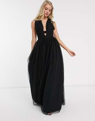 Asos Design DESIGN plunge tiered Grecian tulle maxi dress-Black