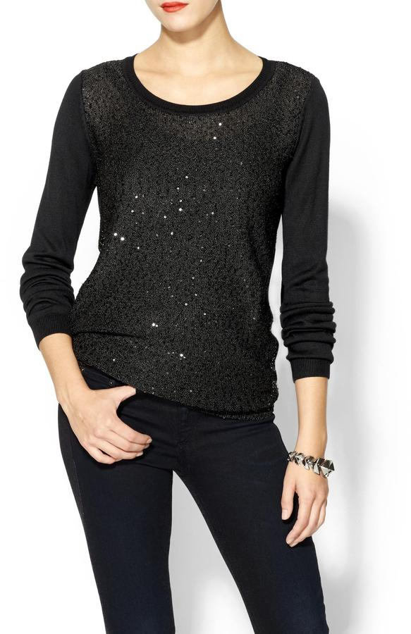 BCBGMAXAZRIA THML Clothing Sequin Front Sweater